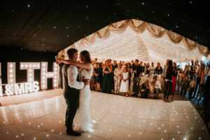 Clear span marquee interior with dance floor