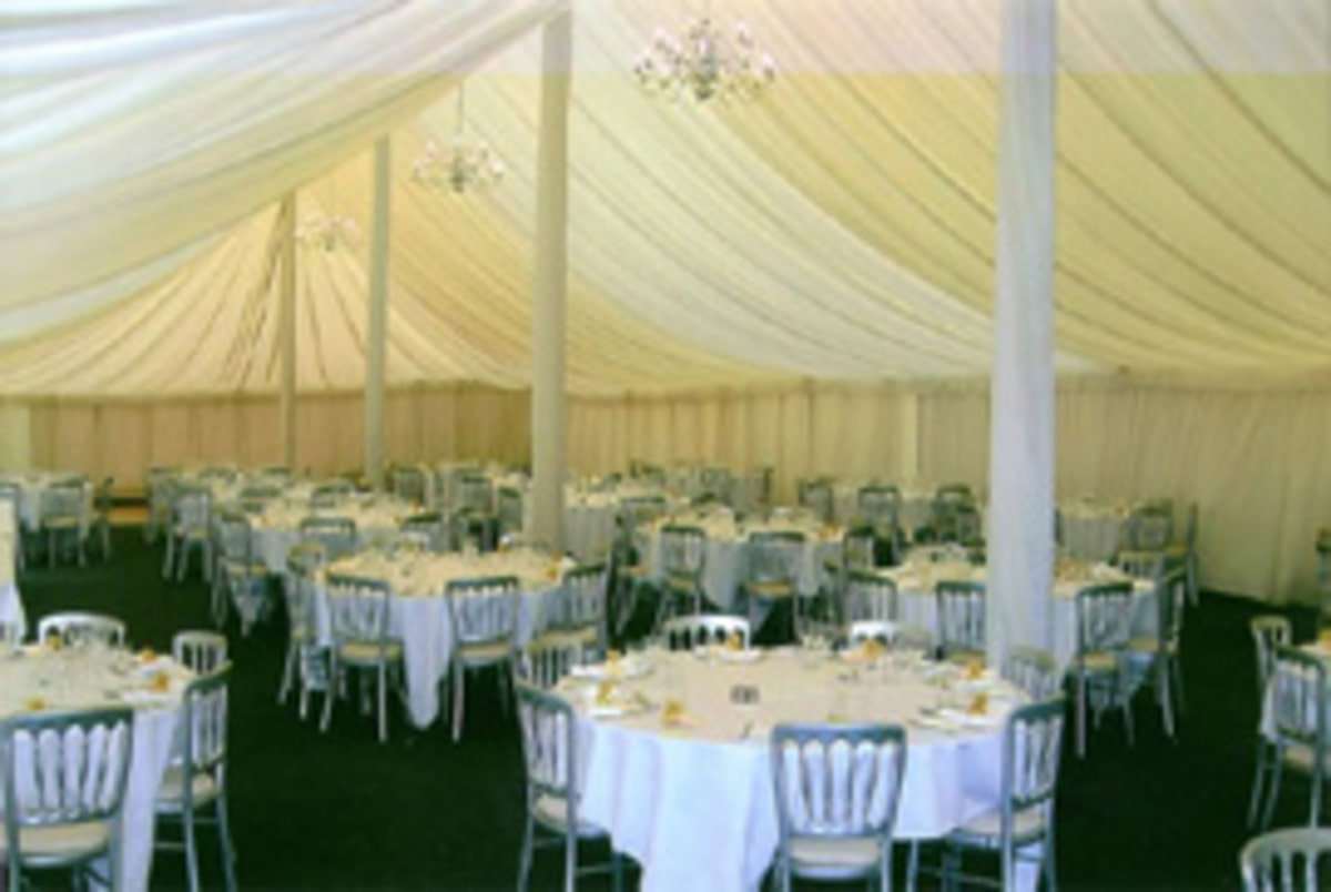 Traditional marquee interior for wedding