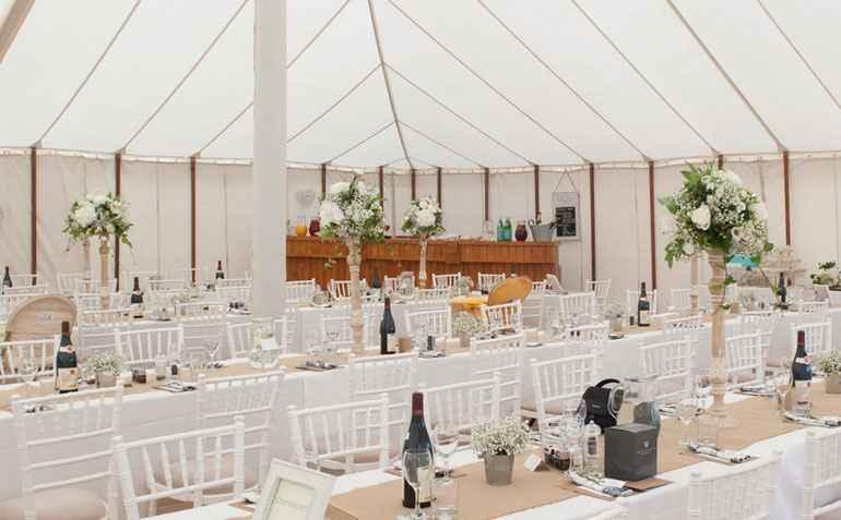 Marquee wedding Essex Trestle tables