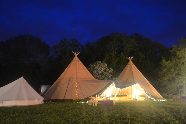 Tipi at night with lighting