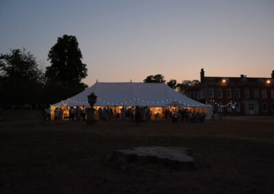 Traditional Marquee Hire at night in Essex | County Marquees East Anglia
