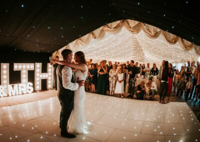Bride and groom dancing in a clear span marquee from County Marquees East Anglia