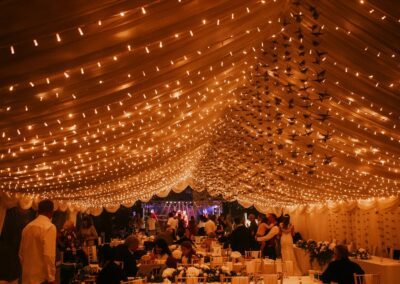Interior night time shot of a clear span marquee
