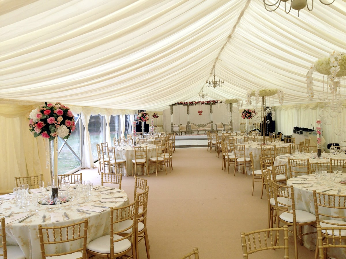 Interior shot of a clear span marquee with partly clear sides | County Marquees East Anglia