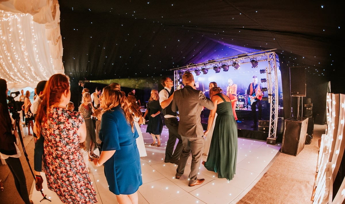 Dance floor in clear span marquee | County Marquees East Anglia