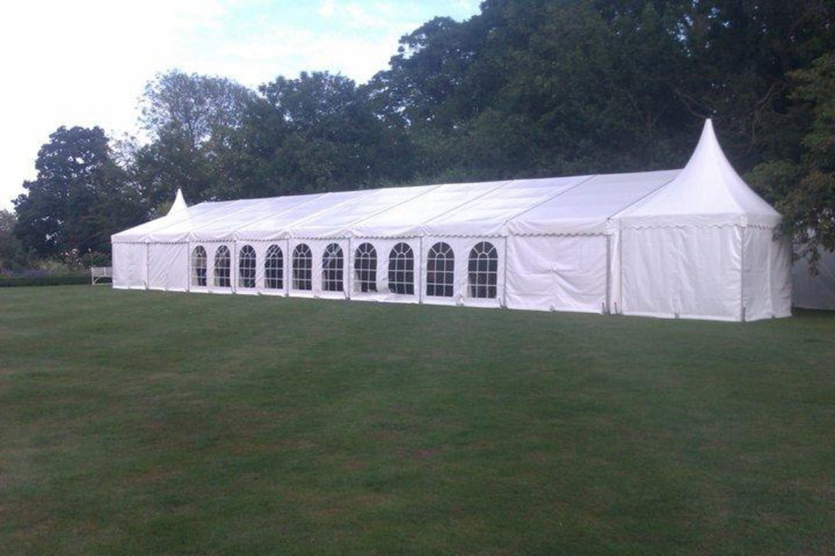 Clear span marquee with Chinese hat extension | County Marquees East Anglia