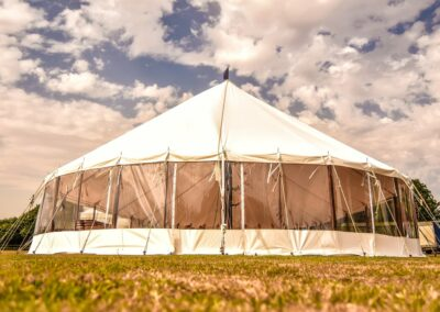 Exterior shot of a large sail cloth marquee in Essex | County Marquees East Anglia