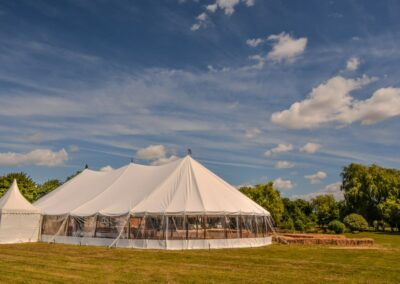 Sail cloth marquee with Chinese hat extension in Essex | County Marquees East Anglia