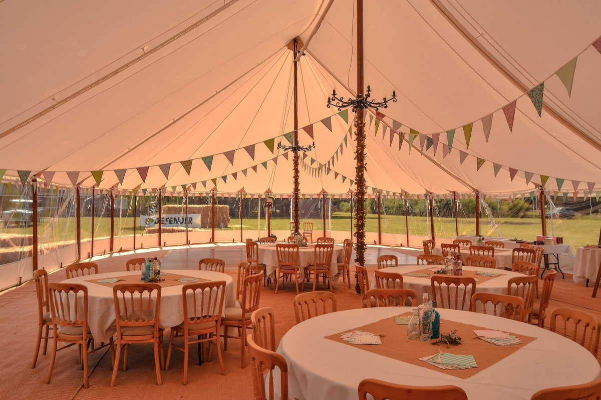 Interior shot of one of our Sail Cloth Marquees in Essex | County Marquees East Anglia