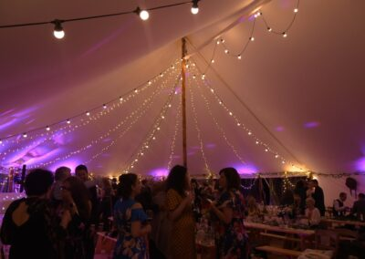 Night time interior shot of one of our Sail Cloth Marquees in Essex | County Marquees East Anglia