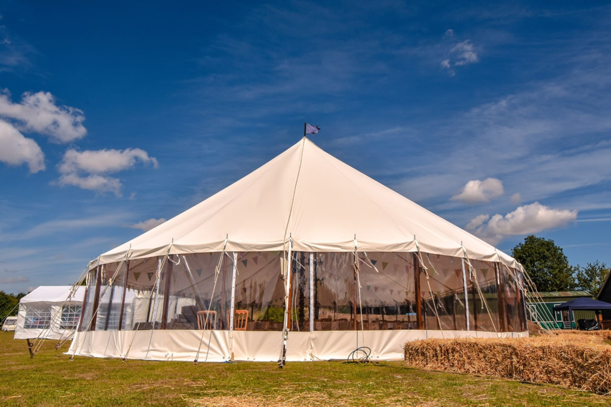 Exterior shot of one of our sail cloth marquees in Essex | County Marquees East Anglia