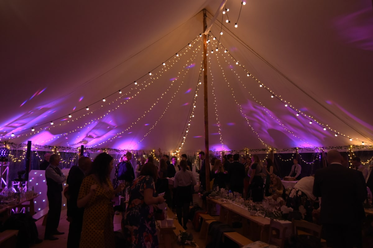 Sail cloth marquee at night in Essex | County Marquees East Anglia