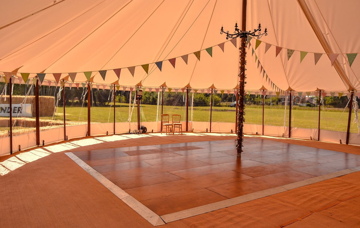 Hire a marquee Essex, Interior shot of sailcloth marquee in Essex | County Marquees East Anglia