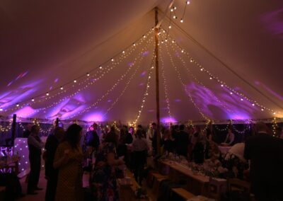 Interior night time shot of sail cloth marquee in Essex | County Marquees East Anglia