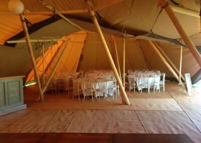 Interior shot of a tipi wedding in Essex | County Marquees East Anglia