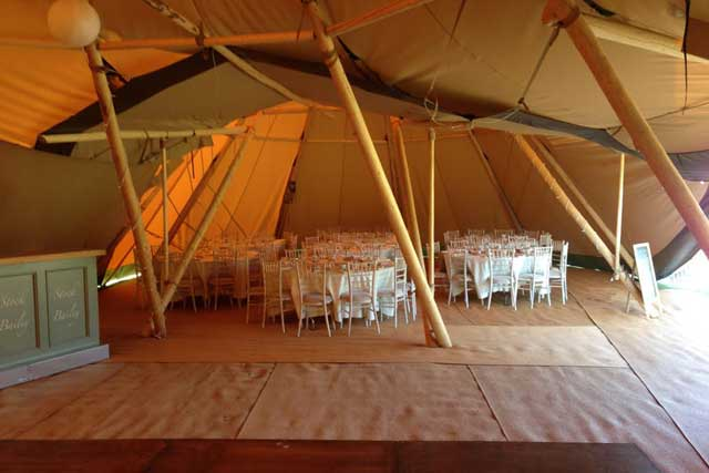 Tipi Hire interior County Marquees East Anglia