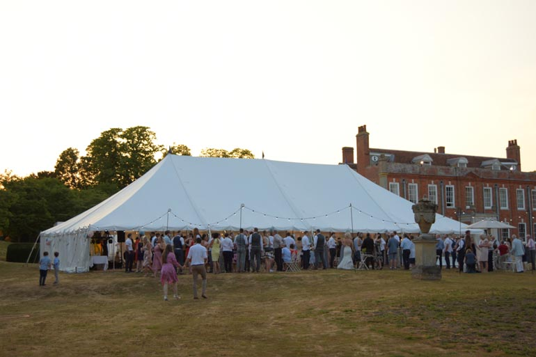 Traditional marquee on country house estate