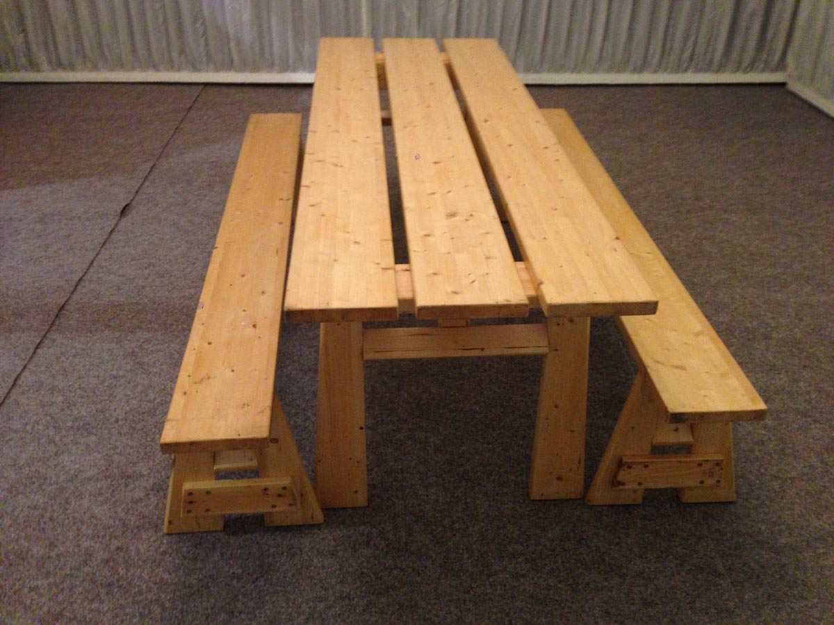 Small chunky rustic table and benches