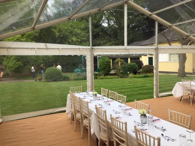 Clear span marquee interior for wedding