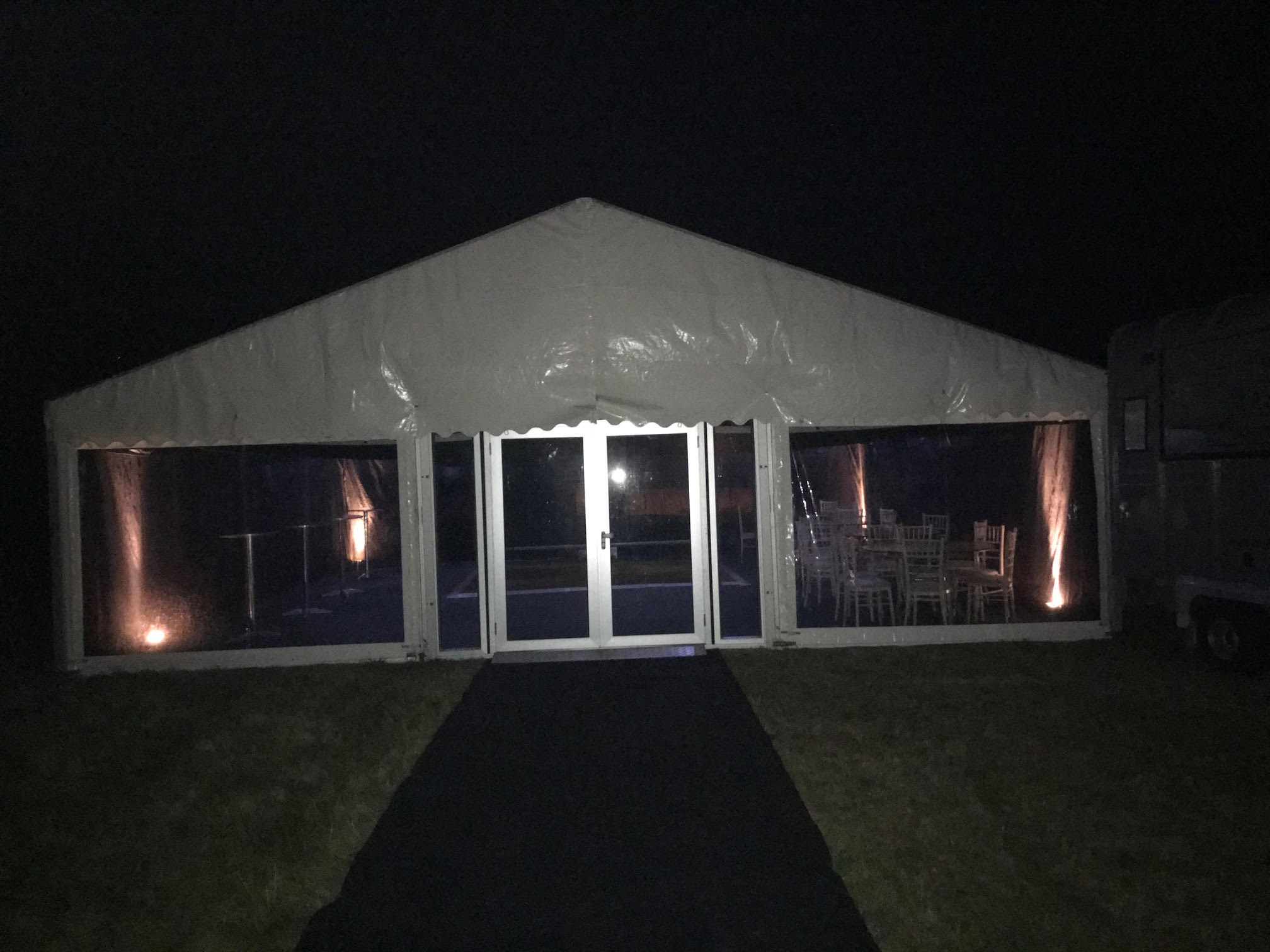 Night time shot of Clear Span Marquee | County Marquees East Anglia