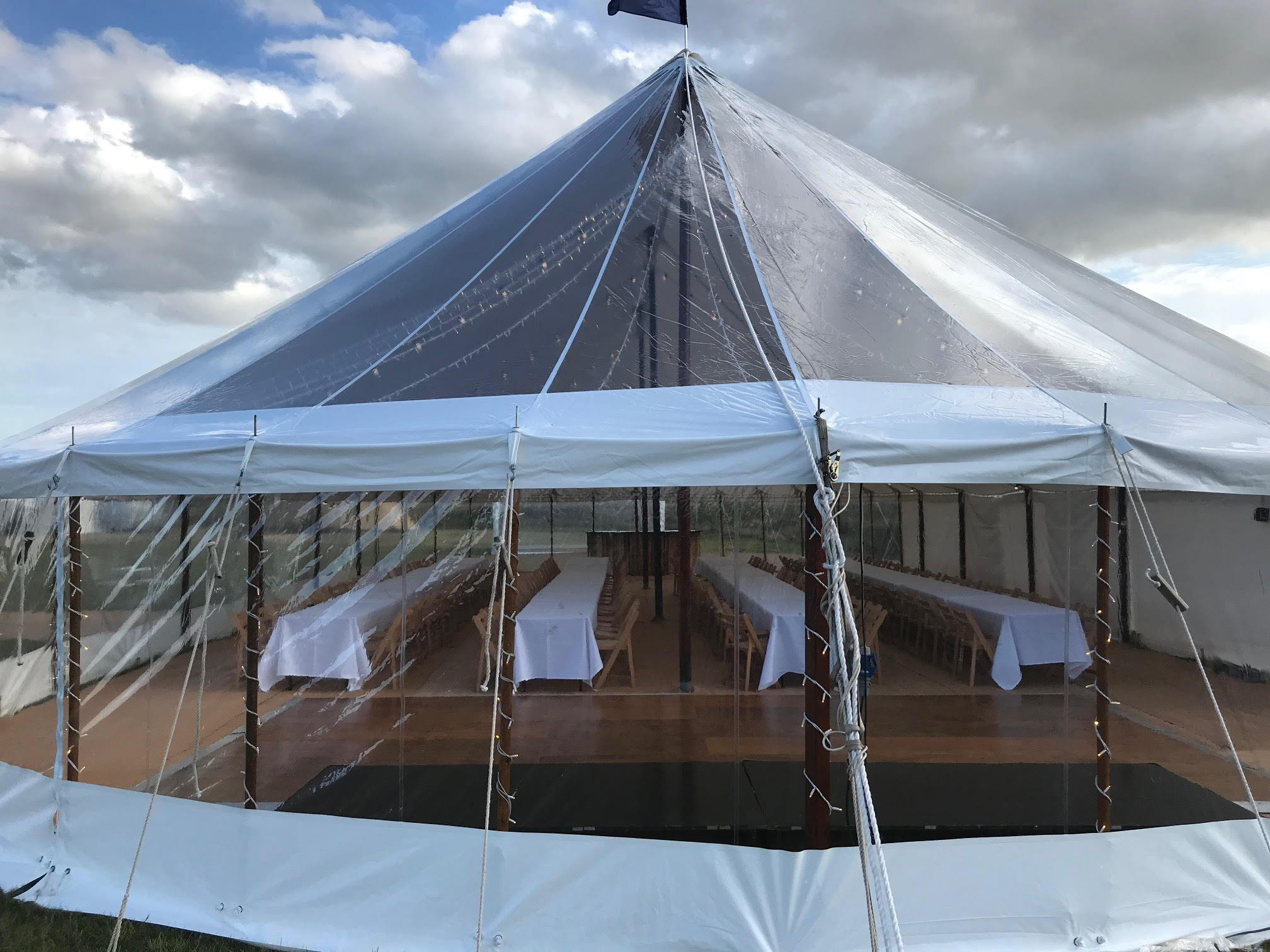 Exterior shot of sail cloth marquee