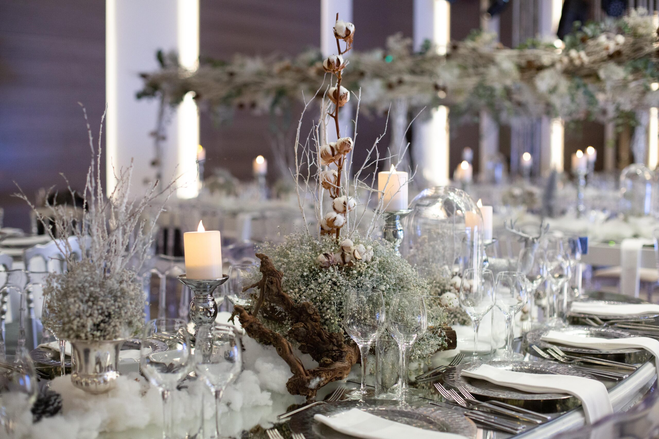 Hire a marquee Norfolk winter wedding tables